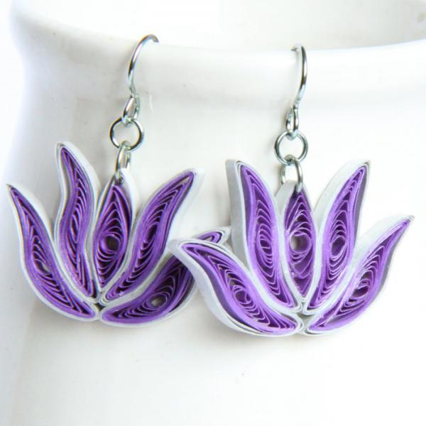 Bridesmaid Gift Lotus Earrings 3 Pairs Purple and Silver Handmade with Niobium