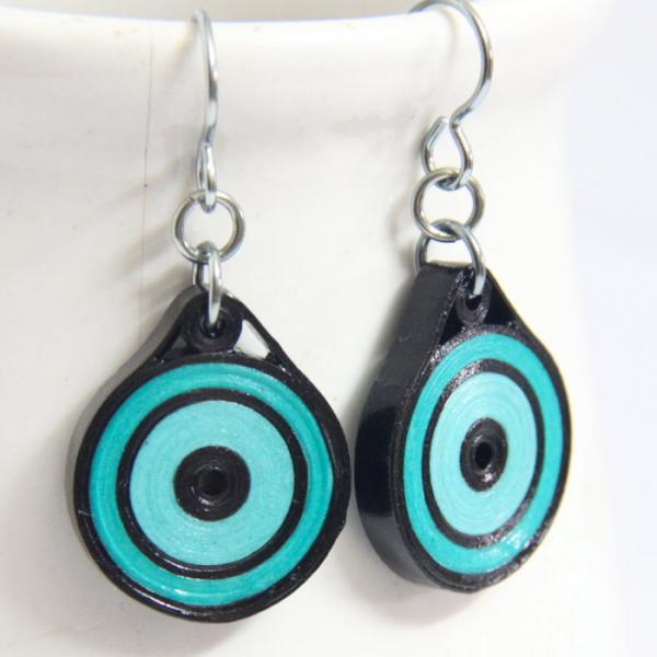 Eco Friendly Earrings Neon Aqua and Black Circle with Niobium Earring Hooks