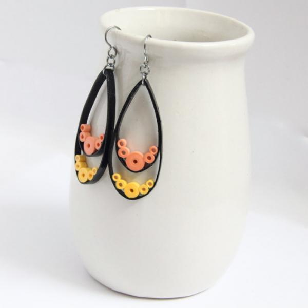 Big Teardrop Earrings Neon yellow orange and black - with Niobium Earring Hooks,