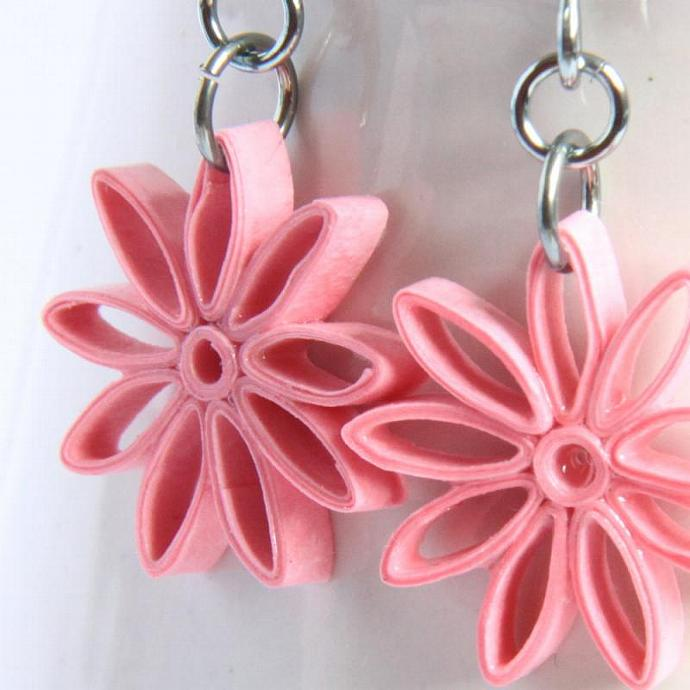 Pink Star Earrings Nine Pointed Paper Quilling bridesmaid gift with Niobium