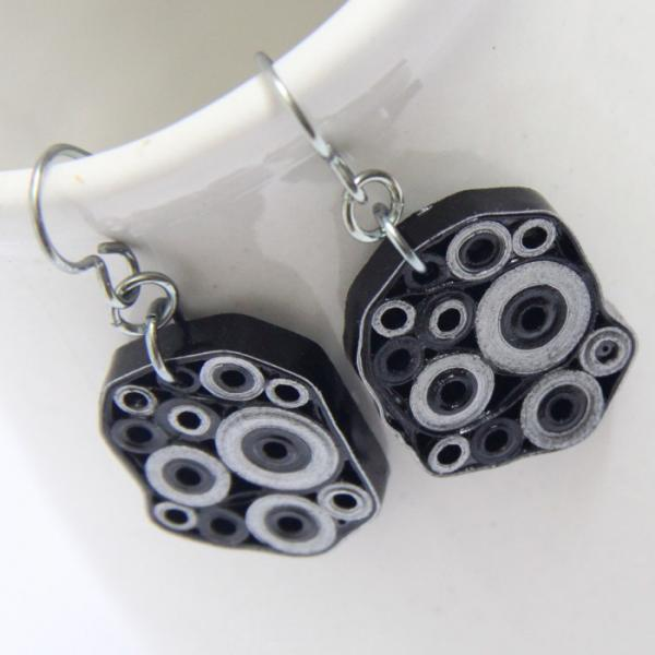 Retro Circles Earrings Black and Silver OOAK Unique Handmade Paper Quilled with