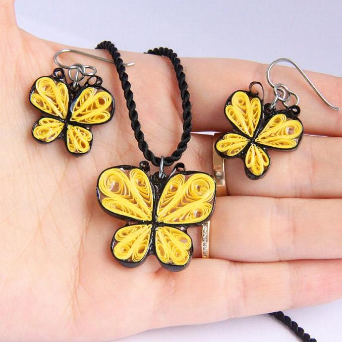 Eco Fashion Earrings Little Yellow Butterfly Niobium Hooks Handmade by Paper