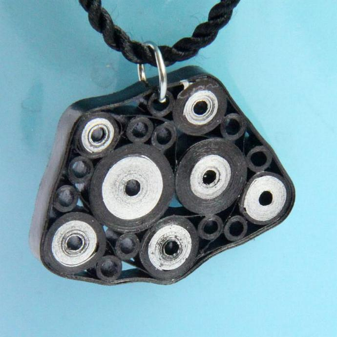 Retro Circles Pendant Black and Silver OOAK Paper Quilled with Niobium Ring Eco