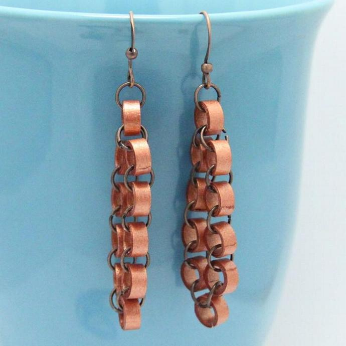 Save 75% Metallic copper chain earrings - handmade by paper quilling Eco