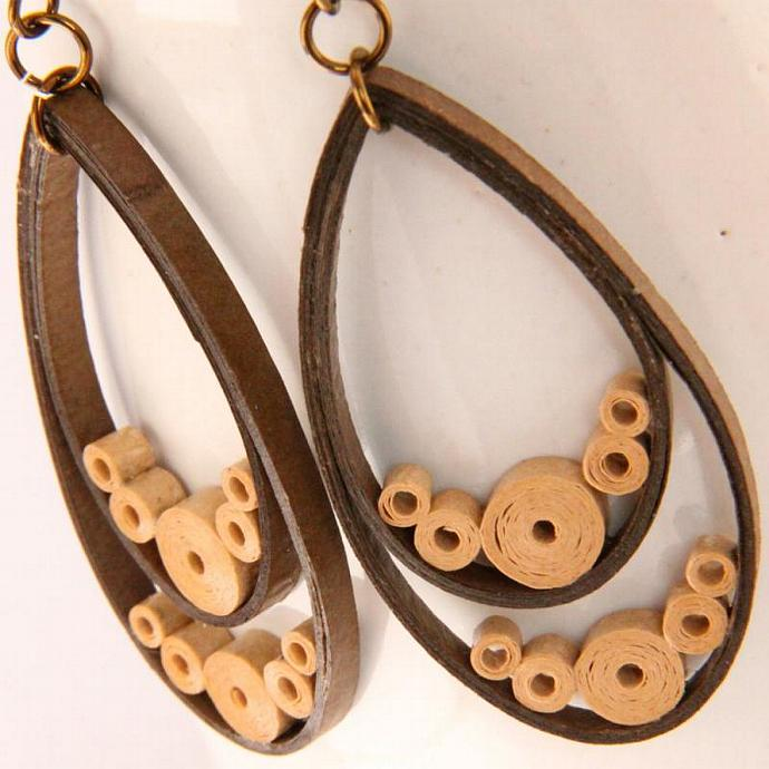 Teardrop Earrings Brown Paper Quilled With Hypoallergenic Niobium Earring Hooks