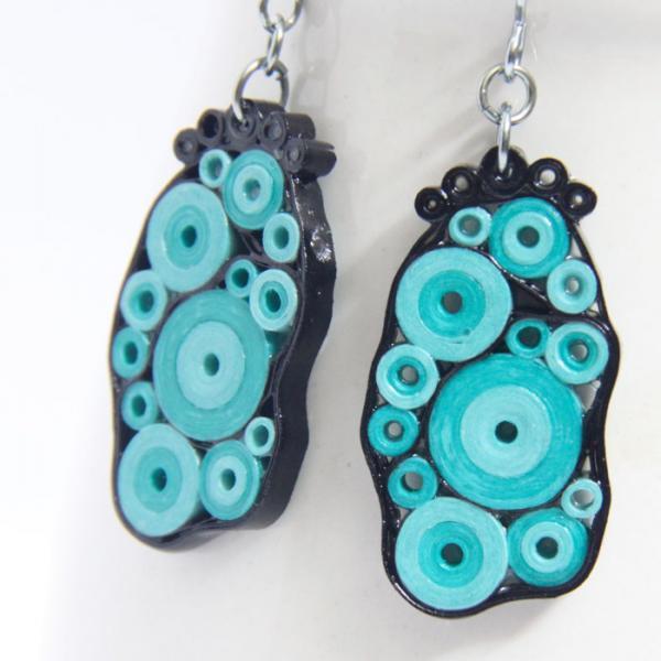 Retro Earrings Aqua Turquoise and Black Circles OOAK with Niobium Earring Hooks