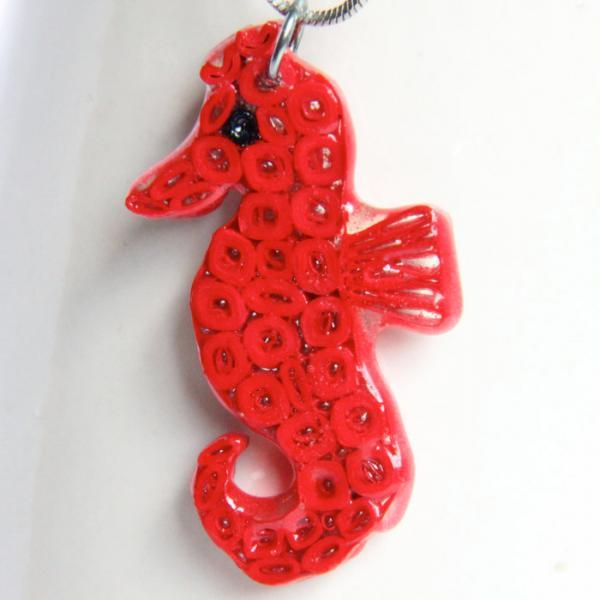 Save 50% Red Seahorse Pendant - Resin Dipped - Paper Quilled one of a kind
