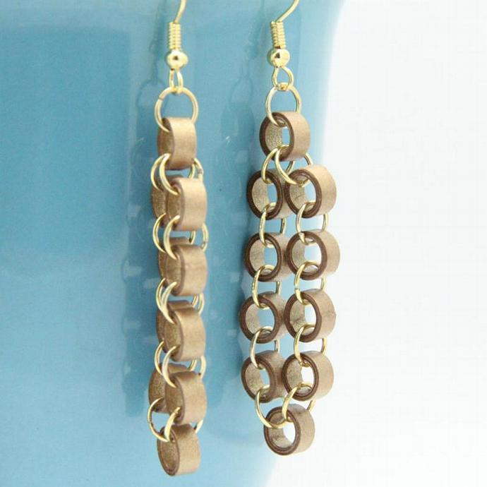 Save 75% Metallic Gold Chain Earrings with Paper Beads Eco Friendly Jewelry /