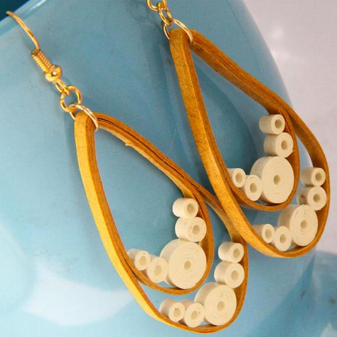 Save 75% Large Teardrop Earrings Mustard Orange wtih Cream Accents Paper Quilled