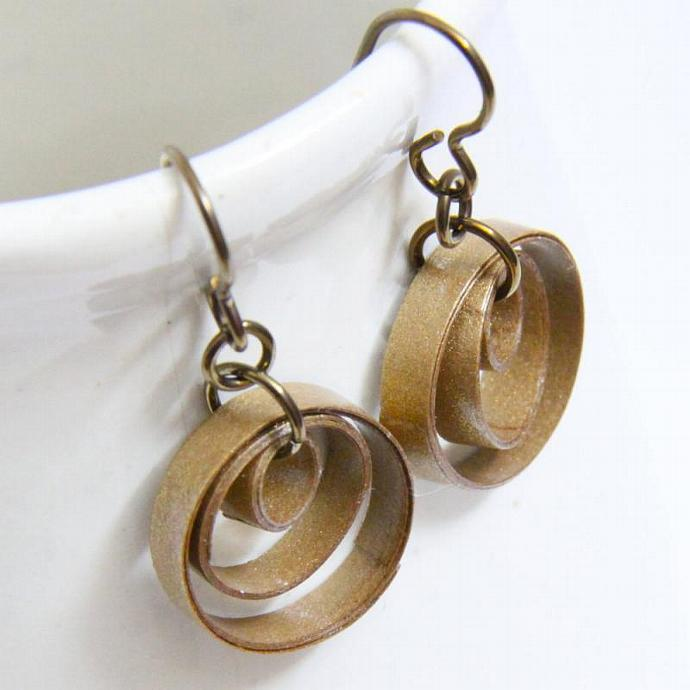 Small Gold Circle Earrings with Niobium Earring Hooks Three Hoops Paper Quilled