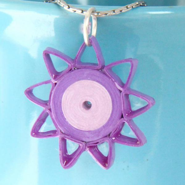 Star Pendant Purple Handmade by Paper Quilling with Niobium Ring Nine Pointed