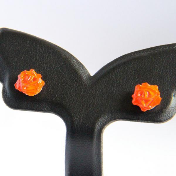 Mini Rose Earrings Orange Handmade by Paper Quilling