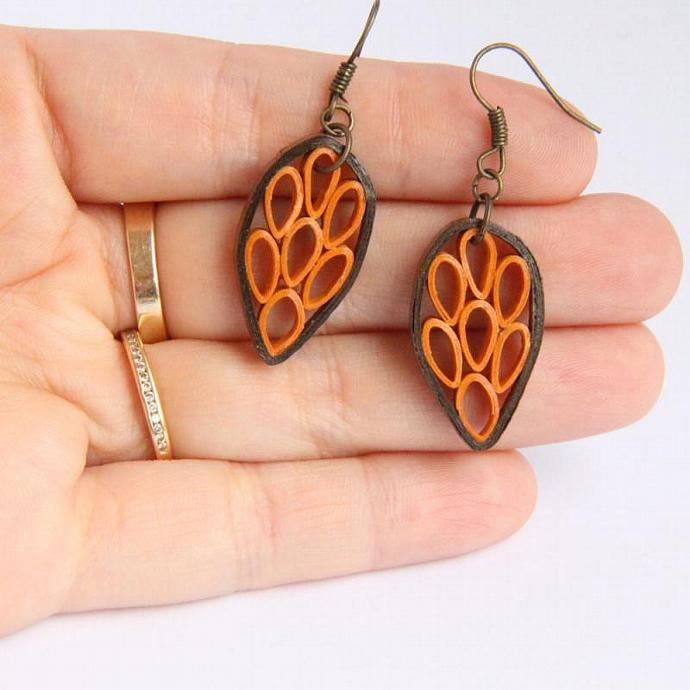 Eco Friendly Earrings Brown and Orange Leaf made by Paper Quilling Artisan