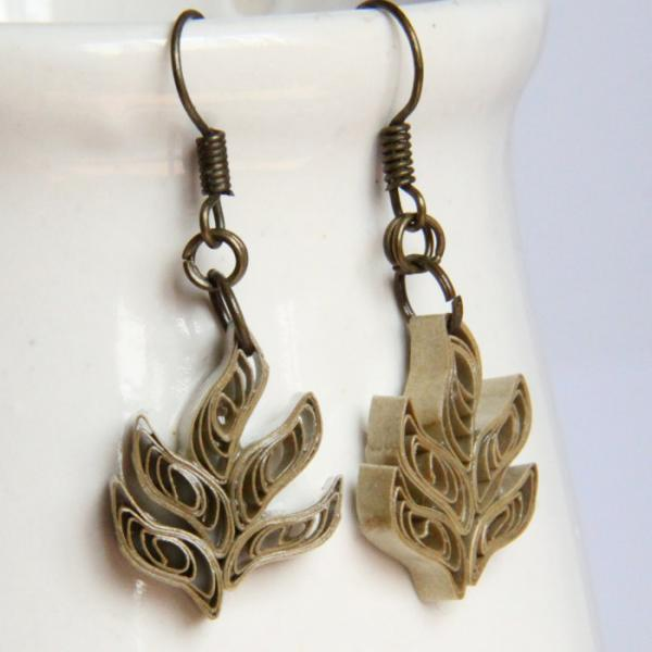 Eco Friendly Earrings Gold Leaf Earrings made by Paper Quilling Artisan Jewelry