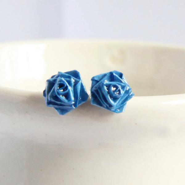 Blue Rose Earrings Handmade by Paper Quilling