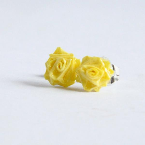 Yellow Rose Earrings Handmade by Paper Quilling