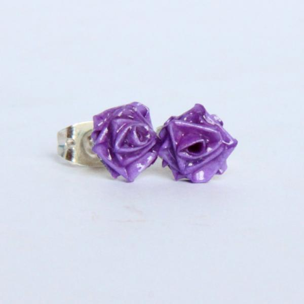 Purple Rose Earrings Purple Handmade by Paper Quilling