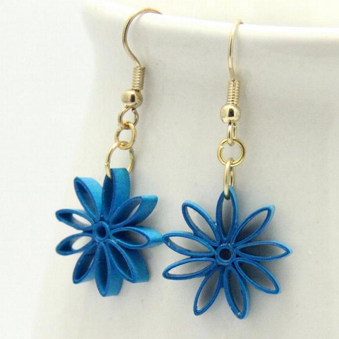 Dark Turquoise Nine Pointed Star Earrings with Niobium Earring Hooks Baha'i
