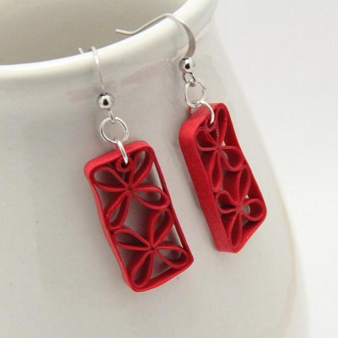 Eco Friendly Earrings Red Floral Tropical Paper Quilled Lattice Handmade Artisan