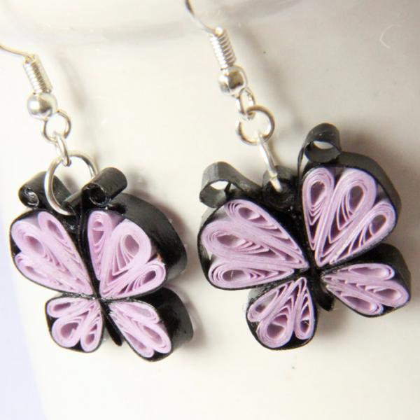 Little Butterflies Earrings purple lavender unique Handmade Bridesmaid Gift Eco