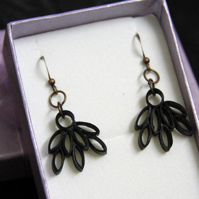 Eco Friendly Earrings Black Lotus - Handmade by Paper Quilling Artisan Jewelry