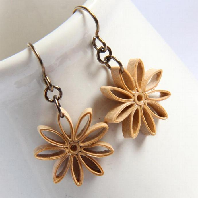 Tan Star Earrings Nine Pointed Star Baha'i Jewelry with Niobium Earring Hooks