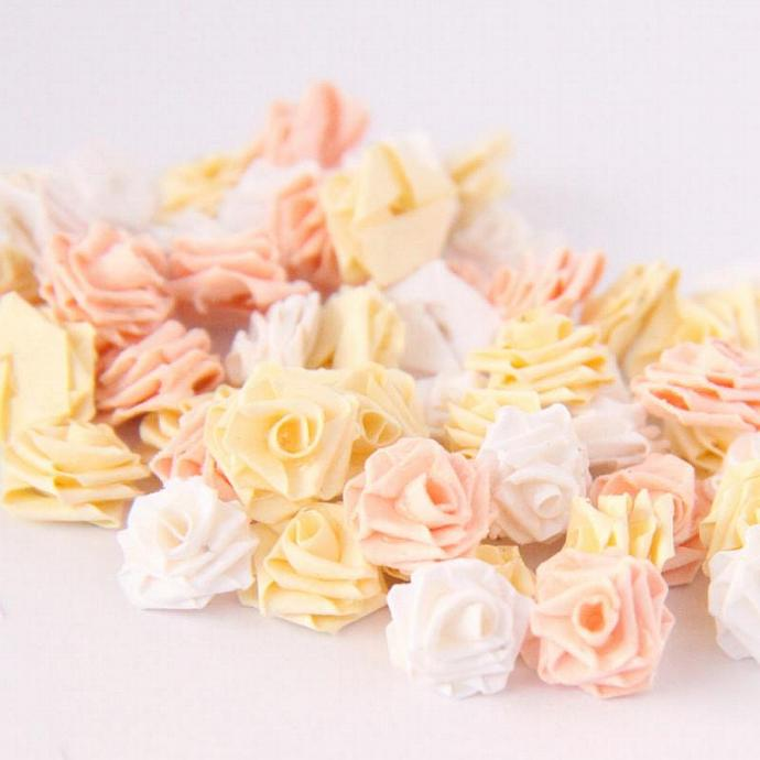 Tiny Paper Quilling Roses - Scrapbooking Embellishments - Set of 48 in pastels