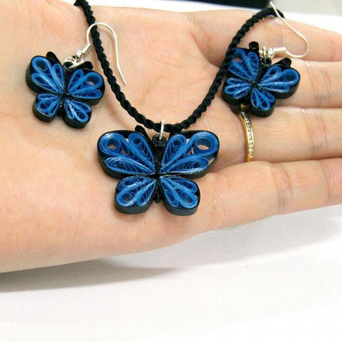 Blue Butterfly Resin Pendant - Handcrafted by Paper Quilling Eco Friendly