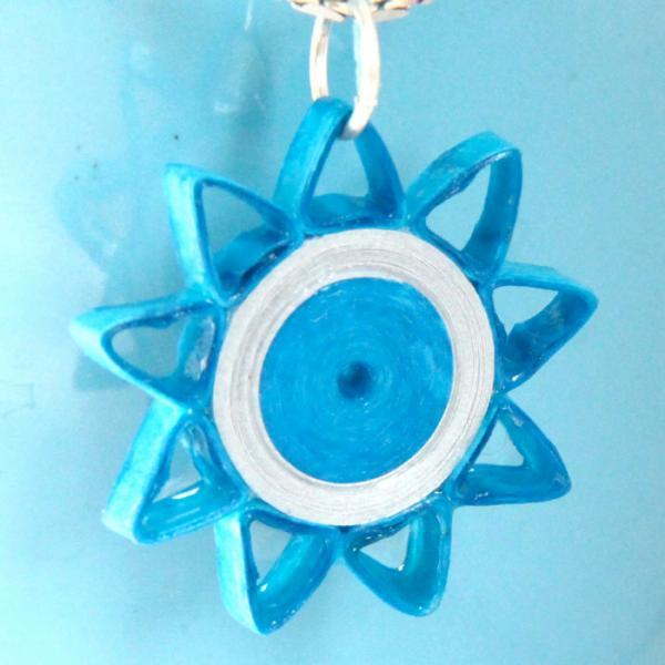 Star Pendant Turquoise and Silver Paper Quilling with Niobium Ring Nine Pointed