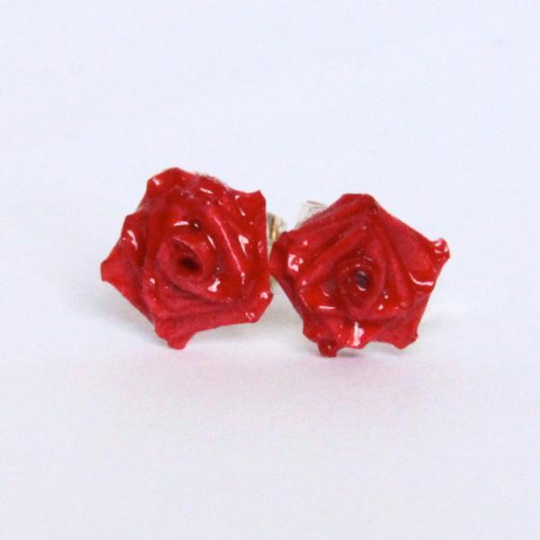 Eco Friendly Earrings Red Rose Handmade by Paper Quilling Artisan Jewelry