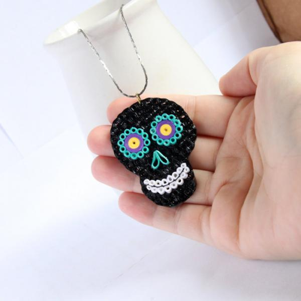 Mexican Skull Pendant Neon Day of the Dead Unique Handmade by Paper Quilling Eco