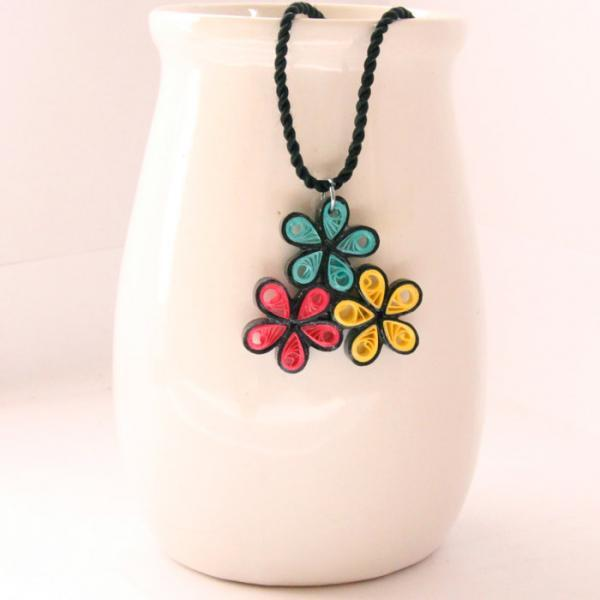 Neon Flower Pendant Handmade by Paper Quilling Bright Colors Necklace Eco