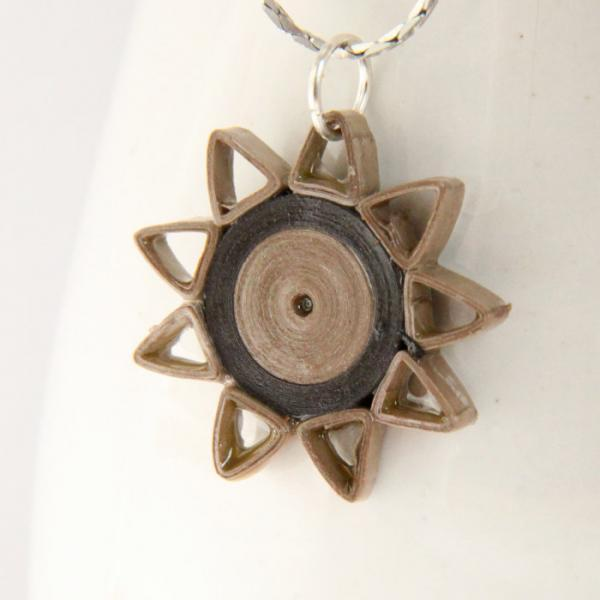 Star Pendant Taupe and Brown Paper Quilling with Niobium Ring Nine Pointed Star