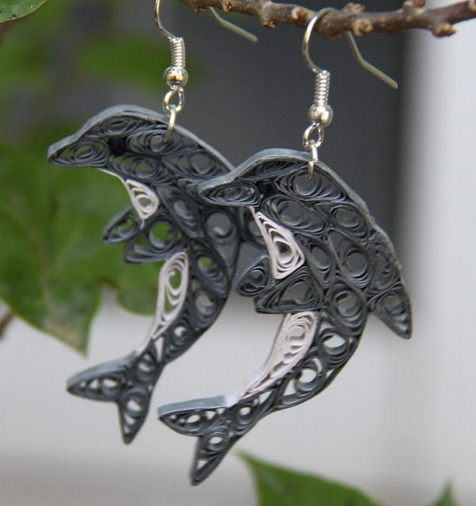 Dolphin Earrings Unique Handmade by Paper Quilling Eco Friendly Jewelry, Artisan