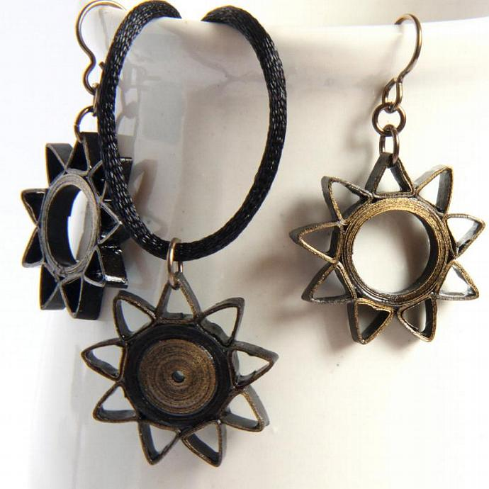 Baha'i Jewelry Nine Pointed Star Earrings and Pendant Necklace Set Black and