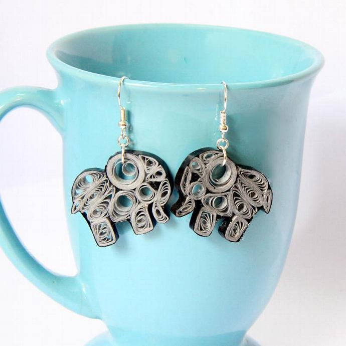 Elephant Earrings Eco Friendly Fashion Grey Handmade by Paper Quilling OOAK