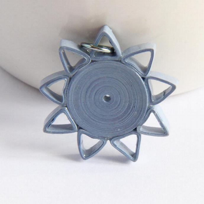 Light Blue Star Pendant  Nine Pointed Star Paper Quilled with Niobium Ring Eco