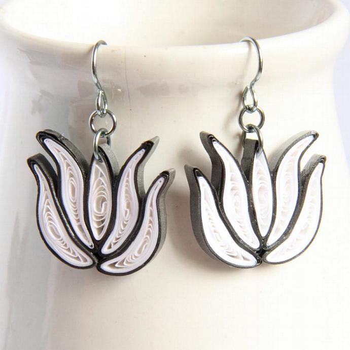 Lotus Earrings White and Dark Grey Handmade with Niobium Bridesmaid gift Eco