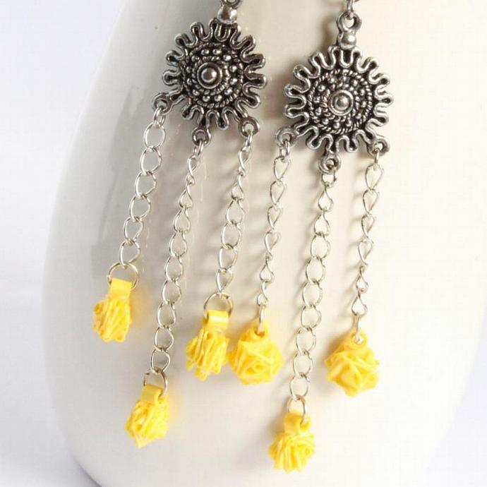 Save 75% Yellow Tiny Roses Chandelier Earrings - Paper Quilled Eco Friendly