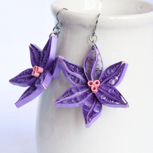 Purple Lily Earrings - Paper Quilled Unique Handmade with Niobium Earring Hooks