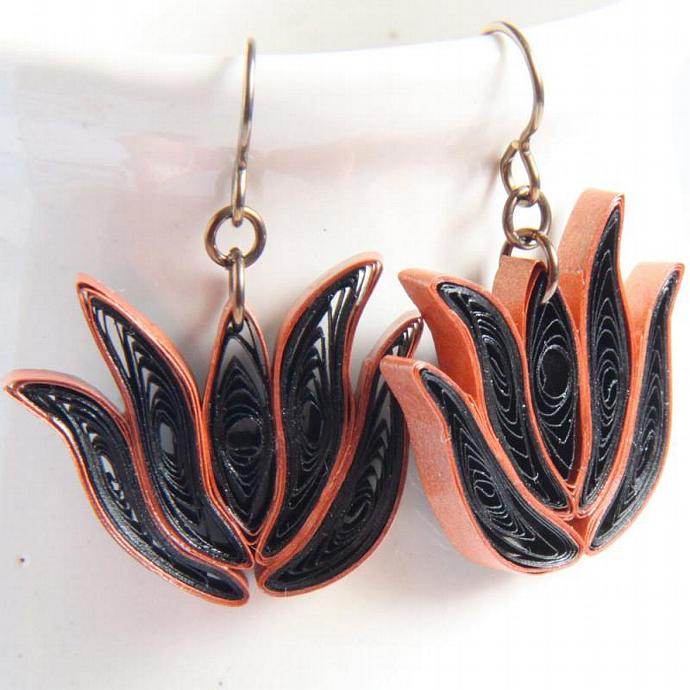 Lotus Earrings Black and Copper with Niobium Earring Hooks Bridesmaid gift Eco