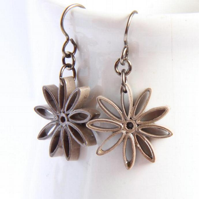 Taupe Star Earrings Nine Pointed Paper bridesmaid gift Eco Friendly Earrings,
