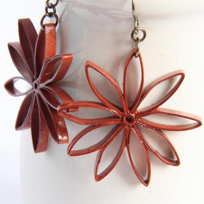 Rust Brown Star Earrings Big Nine Pointed Star Baha'i Jewelry Handmade with