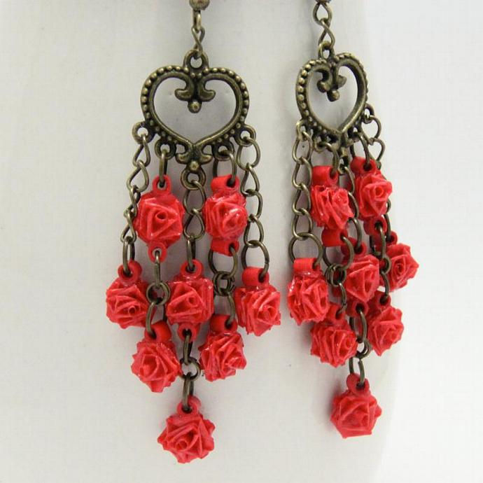 Save 75% Red Rose Chandelier Earrings Unique Handmade by Paper Quilling Eco
