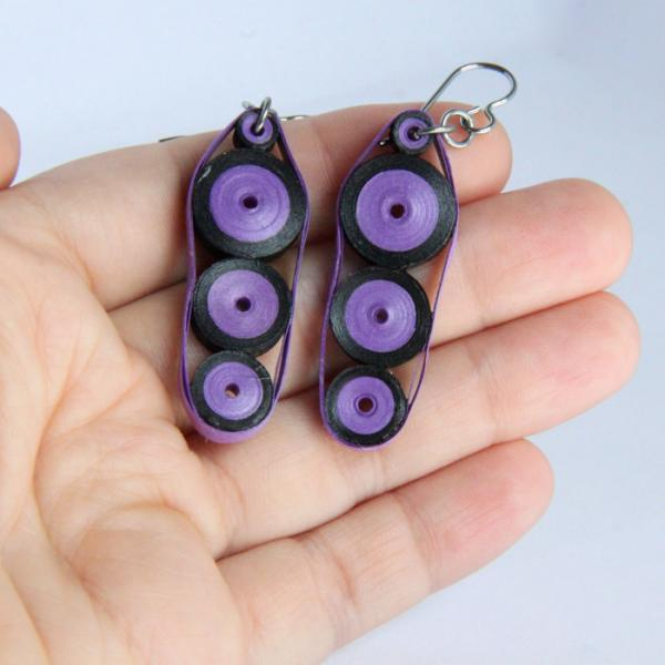 Three Circles Earrings in Purple and Black Paper with Niobium Earring Hooks Eco