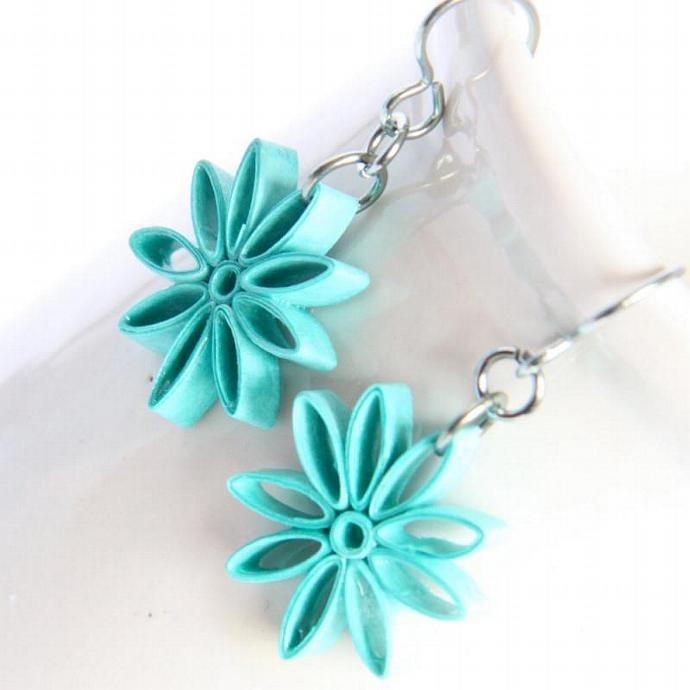 Eco Friendly Neon Earrings Aqua Nine Pointed Star Paper bridesmaid gift with
