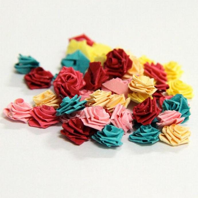 Tiny Paper Roses Scrapbooking Embellishments - Paper Quilled - Set of 16 - You