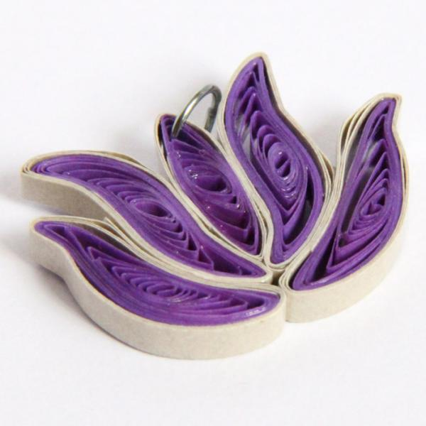 Lotus Pendant Purple and Pale Gold Handmade by Paper Quilling wtih Niobium Ring