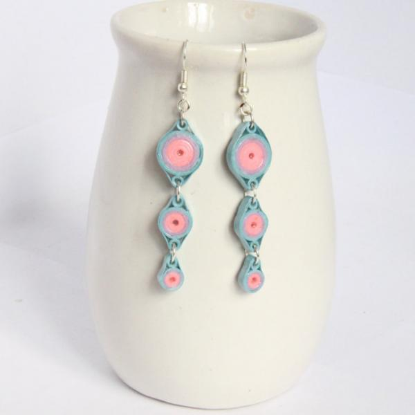 Save 75% Pastel Circles Chain Earrings Handmade by Paper Quilling Eco Friendly