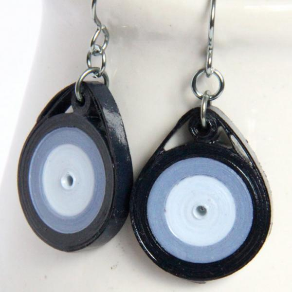 Eco Friendly Earrings Blue Circle with Niobium Earring Hooks Handmade by Paper